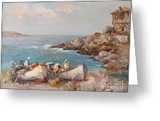 Fishermen With Boats Greeting Card