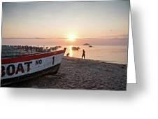 Fishing Boats And The Informal Market - Senga Bay Lake Malawi Greeting Card