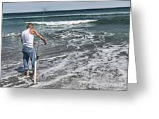 Fishing On The Beach Greeting Card