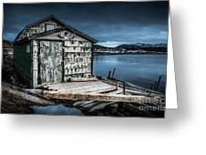 Fishing Shack And Wharf In Norris Point, Newfoundland Greeting Card