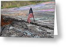Flag In A Crack In The Pavement Greeting Card