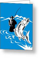 Fly Fisherman Catching Trout Greeting Card