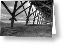 Folly Beach Pier Black And White Greeting Card