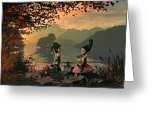 Forest Elves A Sunset Greeting Card
