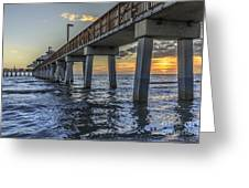 Fort Myers Beach Fishing Pier Greeting Card by Edward Fielding