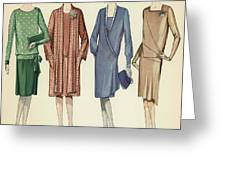 Four Flappers Modelling French Designer Outfits, 1928  Greeting Card