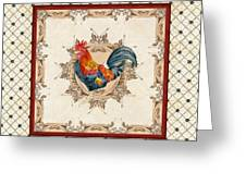 French Country Roosters Quartet Cream 2 Greeting Card