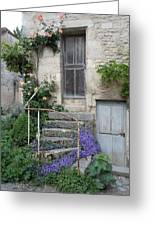 French Staircase With Flowers Greeting Card by Marilyn Dunlap