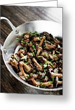 Fried Shiitake Mushrooms In Garlic Herb And Olive Oil Snack Greeting Card