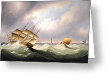 Frigate Off A Lighthouse Greeting Card