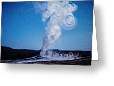 Full Moon And Old Faithful Greeting Card