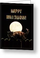 Full Moon Cat Greeting Card