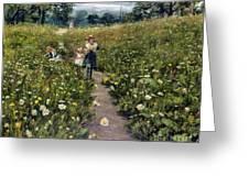 Gathering Wild Flowers Greeting Card