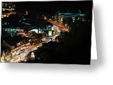 Gatlinburg, Tennessee At Night From The Space Needle Greeting Card