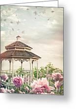 Gazebo In Summer Flower Garden Greeting Card