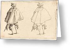 Gentleman In Large Mantle, Seen From Behind Greeting Card