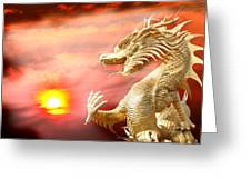 Giant Golden Chinese Dragon Greeting Card