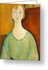 Girl In A Green Blouse Greeting Card