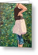 Girl On The Bridge Greeting Card