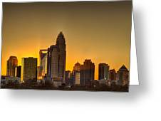 Golden Charlotte Skyline Greeting Card