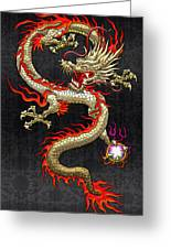 Golden Chinese Dragon Fucanglong  Greeting Card