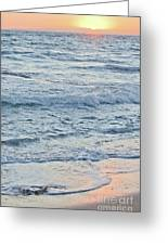 Golden Sunset And Ocean Horizon Greeting Card