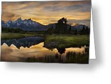Grand Teton Sunset Reflections Greeting Card