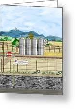 Grain Elevators At Ralston Greeting Card
