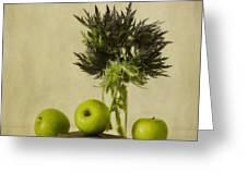 Green Apples And Blue Thistles Greeting Card by Priska Wettstein