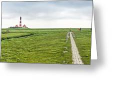 Green Fields And Romantic Lighthouse Greeting Card