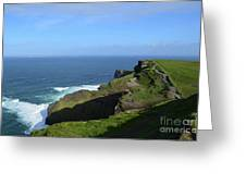 Green Grass On The Sea Cliff's In Ireland Greeting Card