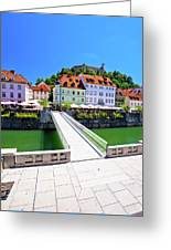 Green Ljubljana Riverfront Panoramic View Greeting Card