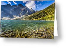 Green Water Mountain Lake Morskie Oko, Tatra Mountains, Poland Greeting Card