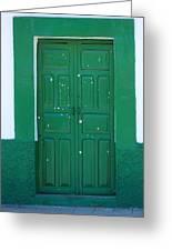 Green Wood Door Greeting Card