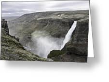 Haifoss Waterfall Iceland 1340 Greeting Card