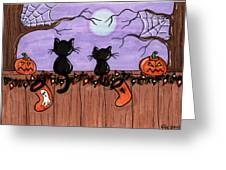Halloween Cats Fence Greeting Card