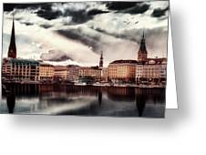 Hamburg At Dusk Greeting Card