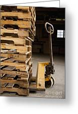 Hand Truck And Wooden Pallets Greeting Card by Shannon Fagan