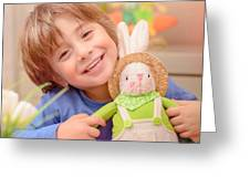 Happy Boy With Easter Bunny Greeting Card