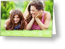 Happy Mother With Daughter Greeting Card
