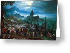 Harbour Scene With Christ Preaching Greeting Card