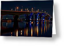 Hathaway Bridge At Night Greeting Card