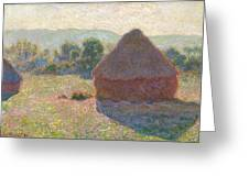 Haystacks, Midday Greeting Card