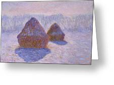 Haystacks, Snow And Sun Effect Greeting Card