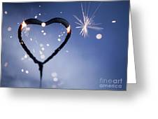 Heart Shape Sparkler Greeting Card
