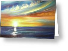 Here It Goes - Square Sunset Painting Greeting Card