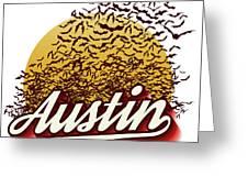 Congress Avenue Bridge Bats Take Flight In Austin Texas Greeting Card