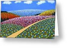Hills Of Flowers Greeting Card