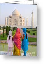 Hindu Women At The Taj Mahal Greeting Card by Bill Bachmann - Printscapes