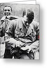 Hitler And Goebbels As The German Chancellor Signs An Autograph Greeting Card